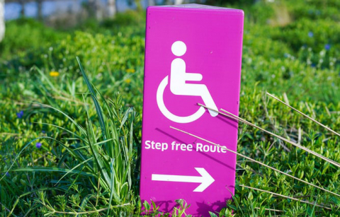 a sign in the grass with an icon of a wheechair user