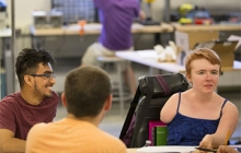 photo as UW sophomore Kayla Wheeler, a congenital amputee, offers input on making makerspaces more accessible to people with disabilities. Dennis Wise/University of Washington