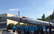 The students and teachers of GEA Summer Aviation in front of a Mirage III fighter jet (casual)  at ISAE in Toulouse, France