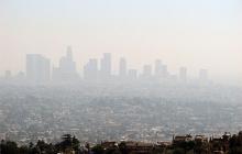 a hazy city skyline