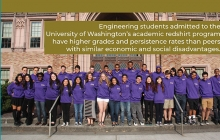 A group shot of UW students all wearing purple sweatshirts