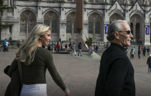 Mackenzie Andrews walks with her father on the UW campus. Photo: Bettina Hansen/The Seattle Times