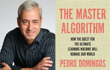 Professor Pedro Domingos and the cover of his book The Master Algorithm