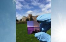 a back-reflector surface used to test perovskite performance, with a sunny background