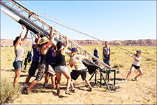 UW SARP team hoists rocket for launching at the Intercollegiate Rocket Engineering Competition in Green River, Utah
